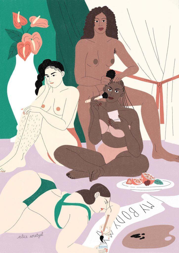 Illustrazione di Alice Wietzel con donne nella routine beauty per l'oroscopo lunare di Yspot con Lumpa