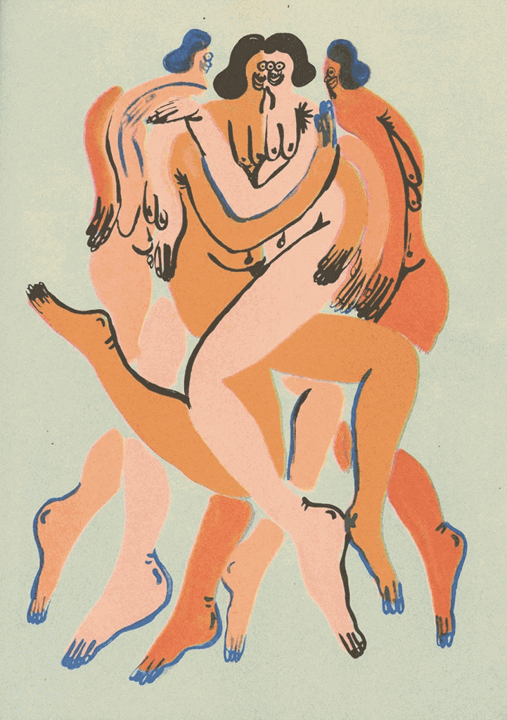 Art illustration of naked bodies of womenìs hugging each other
