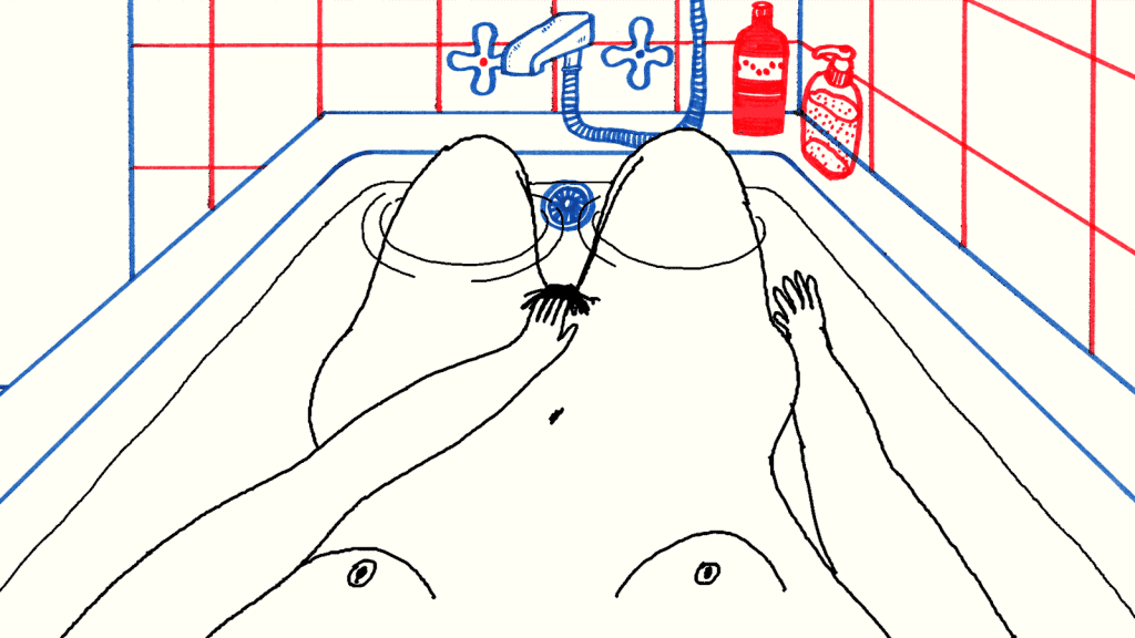 Illustration of a girl masturbating and giving herself pleasure in the bath