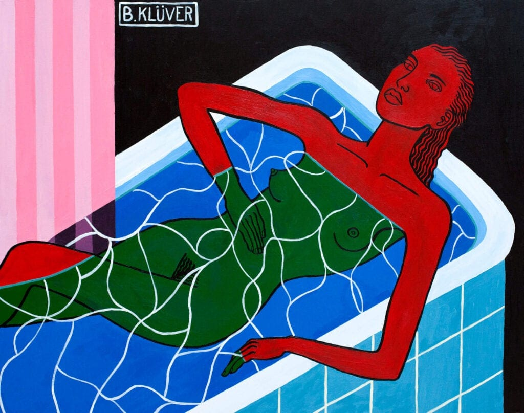 Illustration of a woman in a tub