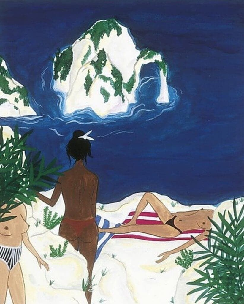 Sea, sex and sun: a view on Capri and female sensual body relaxing and sunbathing