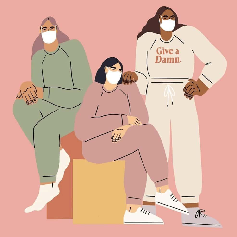 Illustration of three masked girls